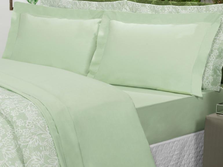 Jogo de Cama King Percal 200 fios 100% Algodão - Ipsum Verde Celadon - Dui Design