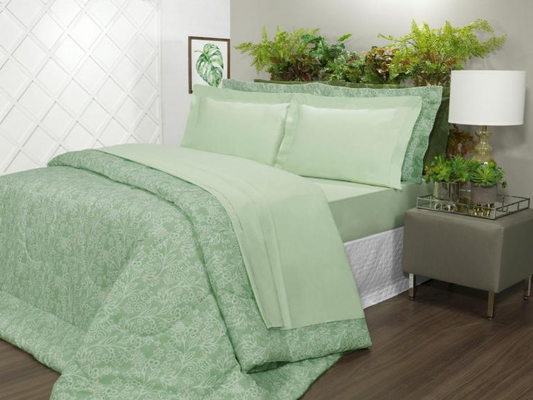 Jogo de Cama Solteiro Percal 200 fios 100% Algodão - Ipsum Verde Celadon - Dui Design