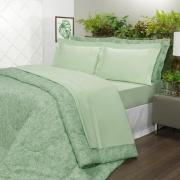 Jogo de Cama Queen Percal 200 fios 100% Algodão - Ipsum Verde Celadon - Dui Design