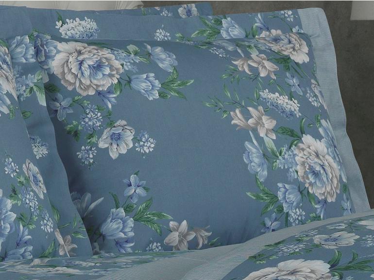 Jogo de Cama Queen Percal 180 fios - Irene Azul - Dui Design