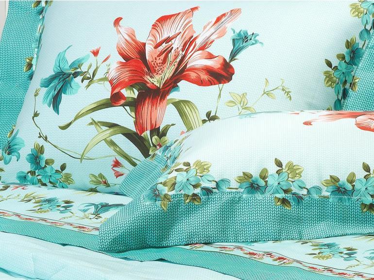 Kit: 1 Cobre-leito Solteiro + 1 Porta-travesseiro Cetim de Algodão 250 fios - Iria Acqua - Dui Design