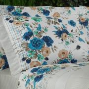 Jogo de Cama King Percal 200 fios - Isabel Azul - Dui Design
