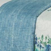 Kit: 1 Cobre-leito Casal Bouti de Microfibra Ultrasonic Estampada + 2 Porta-travesseiros - Isabele Azul - Dui Design