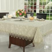 Toalha de Mesa com Bordado Guipir Fácil de Limpar Quadrada 4 Lugares 160x160cm - Isadore Bege - Dui Design