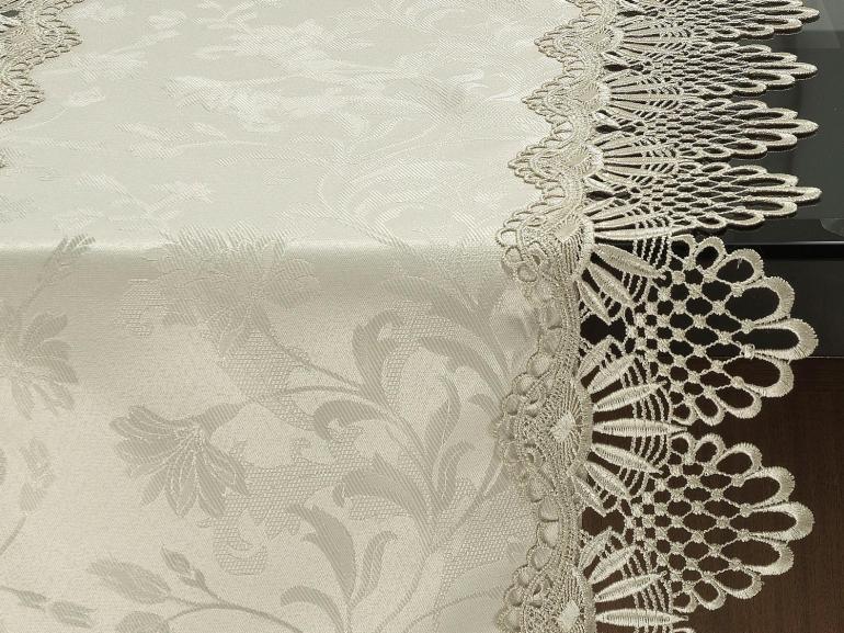 Trilho de Mesa com Bordado Guipir Fácil de Limpar 45x170cm Avulso - Isadore Bege - Dui Design