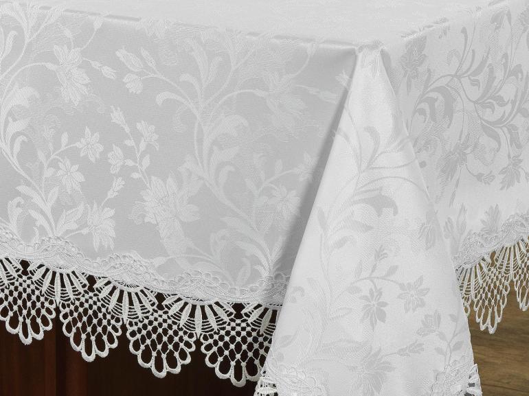 Toalha de Mesa com Bordado Guipir Fácil de Limpar Retangular 6 Lugares 160x220cm - Isadore Branco Pérola - Dui Design