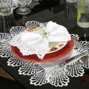 Jogo Americano 4 Lugares (4 peças) com Bordado Guipir Fácil de Limpar 35x50cm - Isadore Branco Pérola - Dui Design
