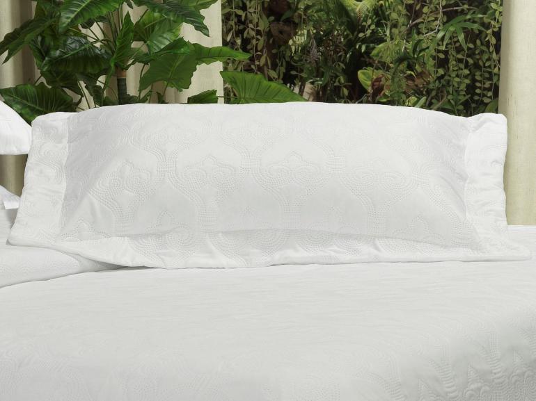 Kit: 1 Cobre-leito Casal Bouti de Microfibra Ultrasonic + 2 Porta-travesseiros - Istambul Branco - Dui Design