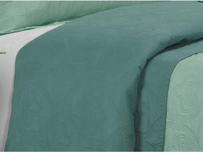 Kit: 1 Cobre-leito Casal Bouti de Microfibra Ultrasonic + 2 Porta-travesseiros - Istambul Turquesa - Dui Design