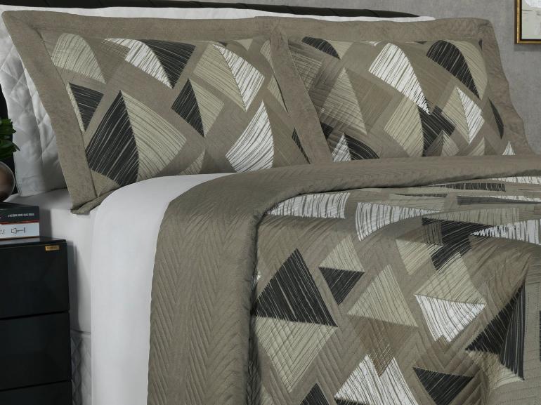 Kit: 1 Cobre-leito Solteiro Bouti de Microfibra Ultrasonic Estampada + 1 Porta-travesseiro - Itachi Stone - Dui Design