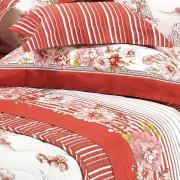 Kit: 1 Cobre-leito Solteiro + 1 Porta-travesseiro Cetim de Algodão 250 fios - Janet Vermelho - Dui Design
