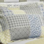 Kit: 1 Cobre-leito Casal Bouti de Microfibra Ultrasonic Estampada + 2 Porta-travesseiros - Jaque Azul - Dui Design