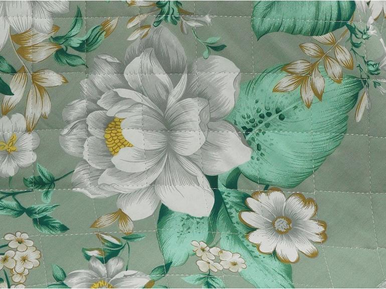 Enxoval Casal com Cobre-leito 7 peças Percal 180 fios - Jaqueline Azul Turquesa - Dui Design