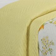 Kit: 1 Cobre-leito Solteiro Bouti de Microfibra Ultrasonic Estampada + 1 Porta-travesseiro - Jardim Amarelo - Dui Design