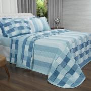 Kit: 1 Cobre-leito King + 2 Porta-travesseiros 150 fios - Jasper Indigo - Dui Design