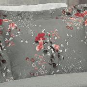 Kit: 1 Cobre-leito Solteiro Bouti de Microfibra Ultrasonic Estampada + 1 Porta-travesseiro - Jenny Vermelho Cinza - Dui Design