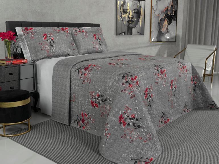 Kit: 1 Cobre-leito Casal Bouti de Microfibra Ultrasonic Estampada + 2 Porta-travesseiros - Jenny Vermelho Cinza - Dui Design