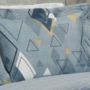 Kit: 1 Cobre-leito Casal Bouti de Microfibra Ultrasonic Estampada + 2 Porta-travesseiros - John Azul - Dui Design