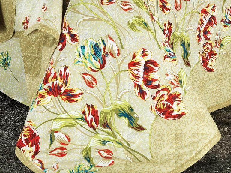 Kit: 1 Cobre-leito Solteiro + 1 Porta-travesseiro Percal 200 fios 100% Algodão - Juliana Bege - Dui Design