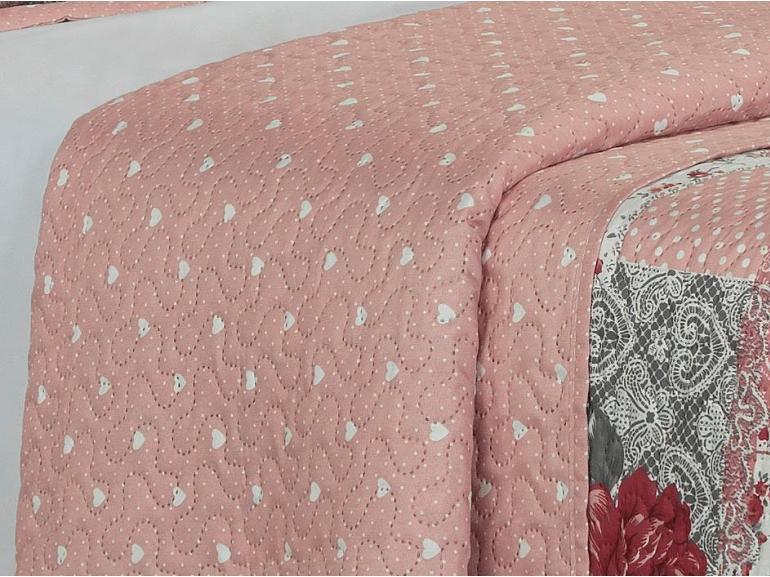 Kit: 1 Cobre-leito Casal Bouti de Microfibra Ultrasonic Estampada + 2 Porta-travesseiros - Justine Rosa Velho - Dui Design