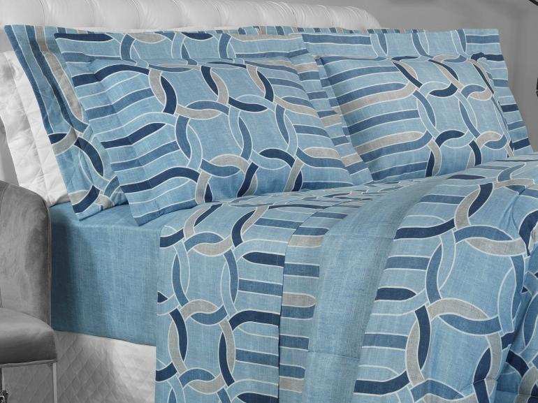 Jogo de Cama Queen Percal 180 fios - Kaleo Azul - Dui Design
