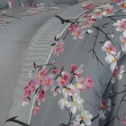 Jogo de Cama Queen Percal 180 fios - Kanji Cinza - Dui Design