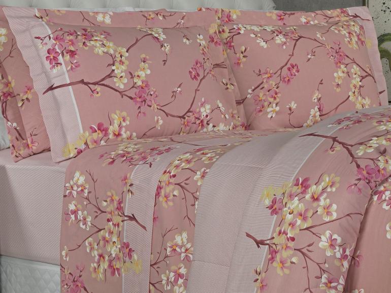 Jogo de Cama Queen Percal 180 fios - Kanji Rosa - Dui Design