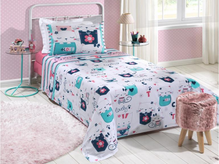 798d6125ee Jogo de Cama Solteiro Kids 100% algodão - Katty Rosa - Santista ...