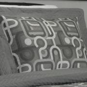 Kit: 1 Cobre-leito Casal Bouti de Microfibra Ultrasonic Estampada + 2 Porta-travesseiros - Kenan Cinza - Dui Design
