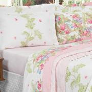 Kit: 1 Cobre-leito Casal + 2 Porta-travesseiros Percal 200 fios - Kiara Rosa - Dui Design
