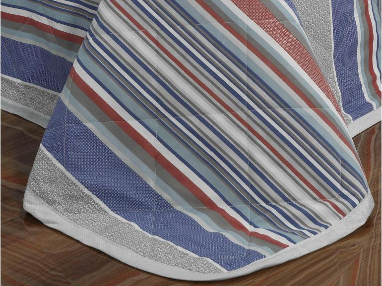 Kit: 1 Cobre-leito Casal + 2 Porta-travesseiros Percal 200 fios - Kiron Azul - Dui Design
