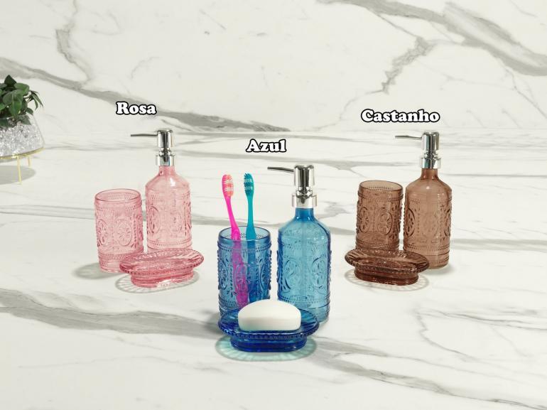 Kit para Bancada de Banheiro em Vidro 3 Peças - Venice - Dui Design