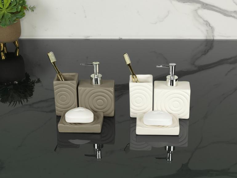 Kit para Bancada de Banheiro em Cerâmica 3 Peças - Espiral - Dui Design