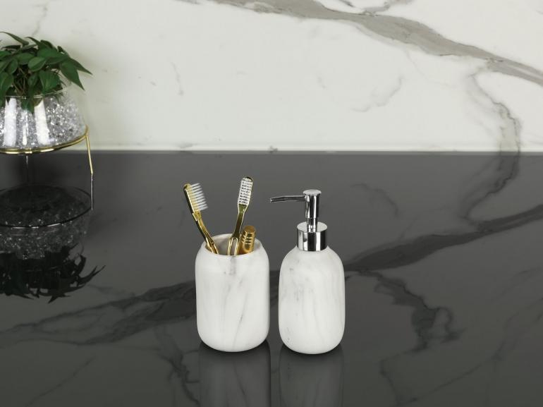 Kit para Bancada de Banheiro em Cerâmica 2 Peças - Marble Branco e Cinza - Dui Design