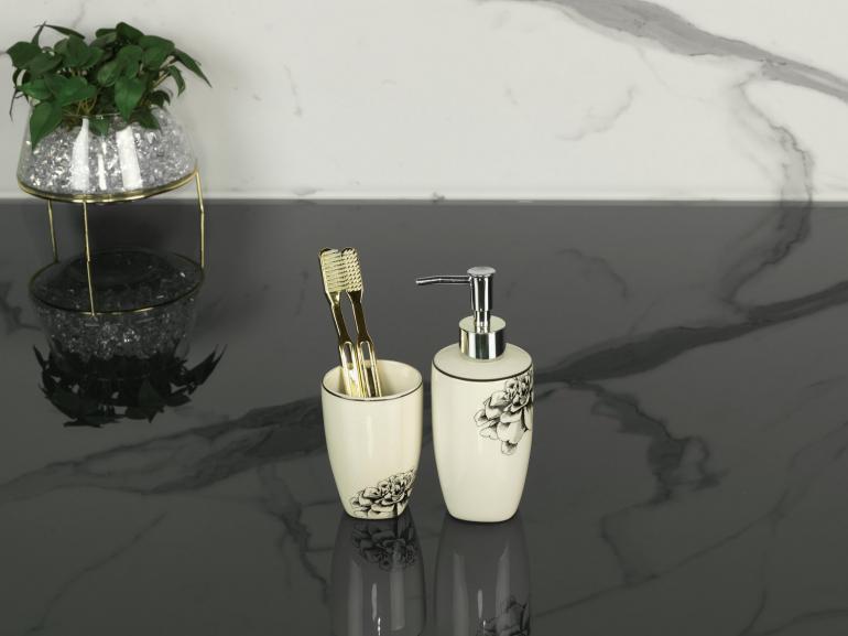 Kit para Bancada de Banheiro em Cerâmica 2 Peças - Paloma Branco e Preto - Dui Design