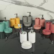 Kit para Bancada de Banheiro em Cerâmica 3 Peças - Waffle - Dui Design
