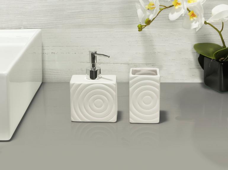 Kit para Bancada de Banheiro em Cerâmica 2 Peças - Espiral - Dui Design