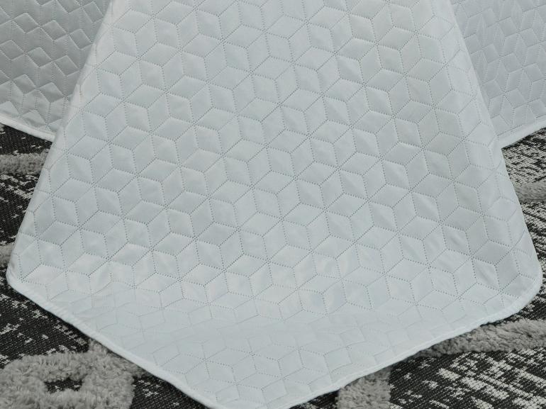 Kit: 1 Cobre-leito Queen Bouti de Microfibra Ultrasonic + 2 Porta-travesseiros - Kobe Branco - Dui Design
