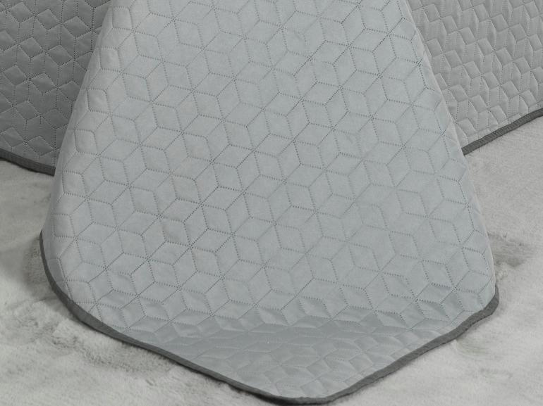 Kit: 1 Cobre-leito Casal Bouti de Microfibra Ultrasonic + 2 Porta-travesseiros - Kobe Cinza - Dui Design