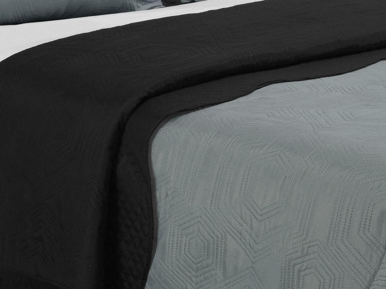 Kit: 1 Cobre-leito Casal Bouti de Microfibra Ultrasonic + 2 Porta-travesseiros - Kobe Cinza e Preto - Dui Design