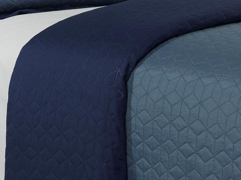 Kit: 1 Cobre-leito Casal Bouti de Microfibra Ultrasonic + 2 Porta-travesseiros - Kobe Indigo - Dui Design