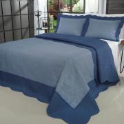 Kit: 1 Cobre-leito Casal Bouti de Microfibra Ultrasonic + 2 Porta-travesseiros - Kobe Jeans e Indigo - Dui Design
