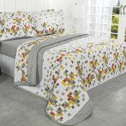 Kit: 1 Cobre-leito Solteiro + 1 Porta-travesseiro Percal 180 fios - Kyoto Cinza - Dui Design