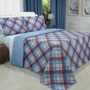 Kit: 1 Cobre-leito King Bouti de Microfibra Ultrasonic Estampada + 2 Porta-travesseiros - Lafayete Azul - Dui Design