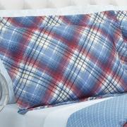 Kit: 1 Cobre-leito Solteiro Bouti de Microfibra Ultrasonic Estampada + 1 Porta-travesseiro - Lafayete Azul - Dui Design