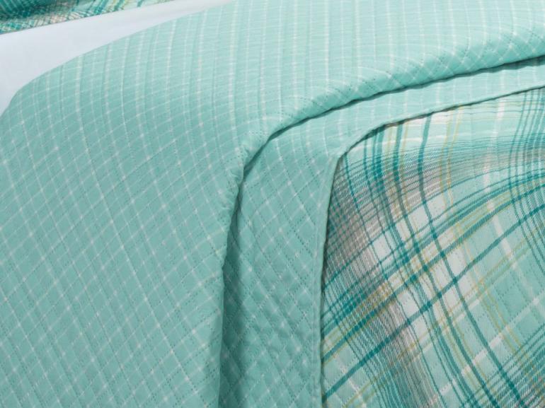 Kit: 1 Cobre-leito Casal Bouti de Microfibra Ultrasonic Estampada + 2 Porta-travesseiros - Lafayete Turquesa - Dui Design