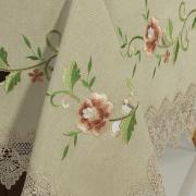 Toalha de Mesa com Bordado Richelieu Retangular 6 Lugares 160x220cm - Laiz Bege - Dui Design
