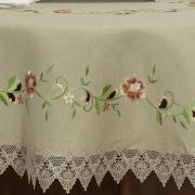 Toalha de Mesa com Bordado Richelieu Redonda 180cm - Laiz Bege - Dui Design