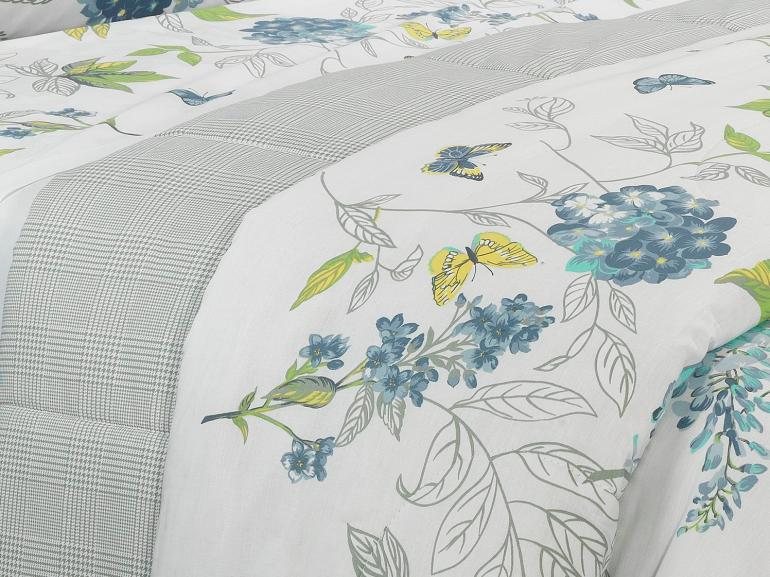 Edredom Casal Percal 180 fios - Laline Azul - Dui Design