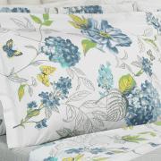 Jogo de Cama Queen Percal 180 fios - Laline Azul - Dui Design